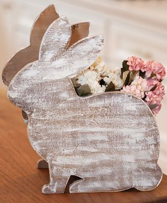 Picture of Distressed Wood Bunny Planter