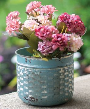 Picture of Vintage Blue Metal Basketweave Pot