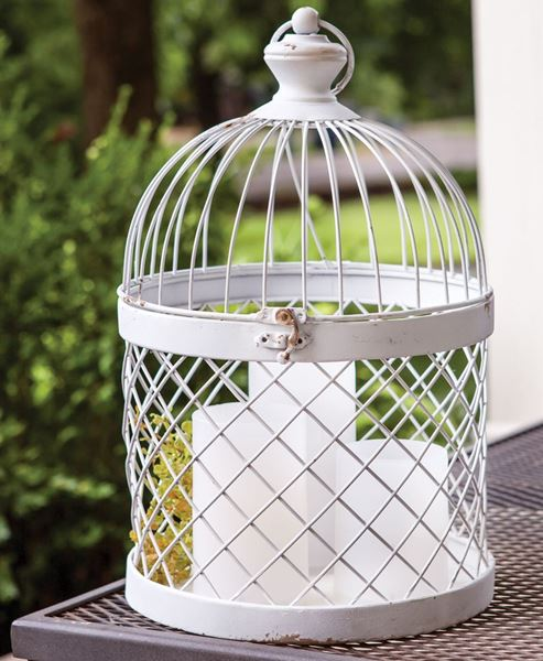 Picture of Distressed White Metal Birdcage
