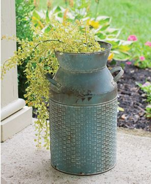 Picture of Vintage Blue Basketweave Milk Can