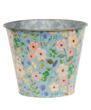 Picture of Vintage Blue Floral Metal Bucket