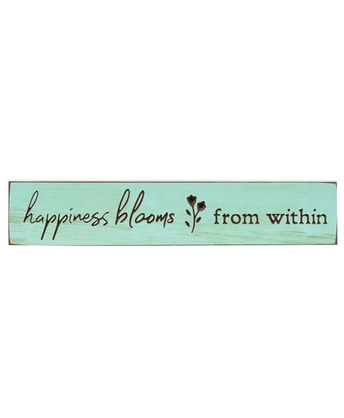 "Picture of Happiness Blooms Engraved Sign, 18"" x 3.5"""