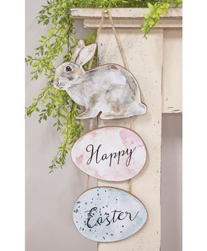 Picture of Happy Easter Watercolor Bunny Hanger