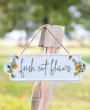 Picture of Fresh Cut Flowers Metal Sign w/ Jute Rope