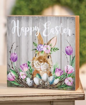 Picture of Happy Easter Spring Floral Box Sign
