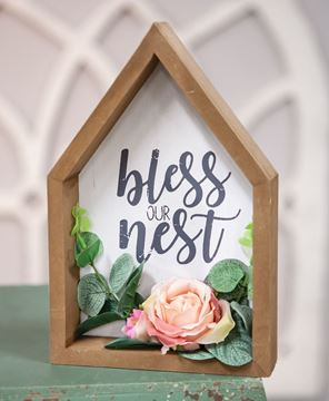Picture of Bless This Nest Floral Wood Sitter