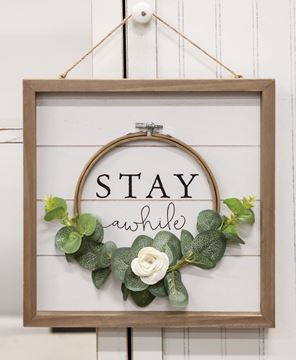 Picture of Stay Awhile Floral Cross-Stitch Framed Sign