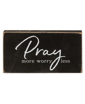 Picture of Pray More, Worry Less Wooden Block, 3 Asstd.