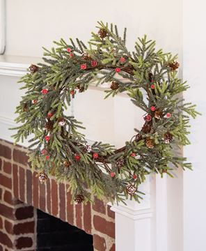Picture of Mountain Pine Wreath w/ Red Berries, 18""
