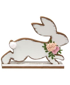 Picture of Distressed White Running Easter Bunny