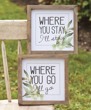 Picture of Where You Stay I'll Stay Wooden Sign Set
