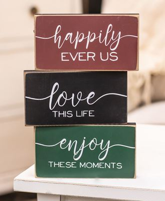 Picture of Happily Ever Us Wooden Block, 3 asstd.