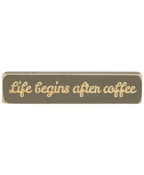 Picture of Life Begins After Coffee Laser Cut Block, 8""