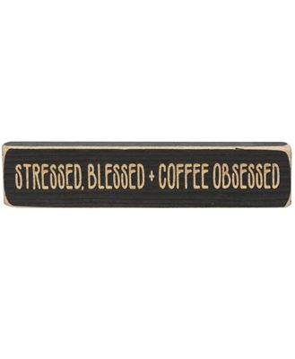 """Picture of Stressed, Blessed + Coffee Obsessed Laser Cut Block, 8"""""""
