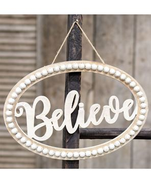 "Picture of Distressed Beaded Wall Sign, ""Believe"""