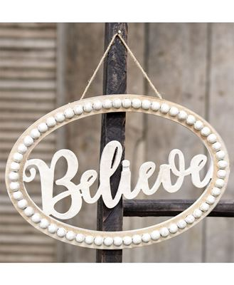 """Picture of Distressed Beaded Wall Sign, """"Believe"""""""