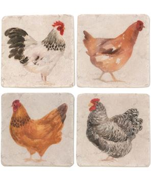 Picture of Rooster Resin Coasters, 4/Set