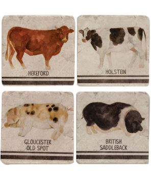 Picture of 4/Set Farm Animals Resin Coasters