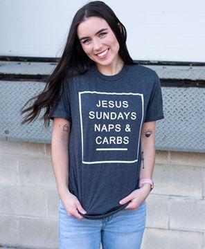 Picture of Jesus, Sundays, Naps, & Carbs, T- Shirt - Charcoal  Gray