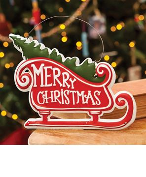 Picture of Merry Christmas Metal Sleigh Hanger