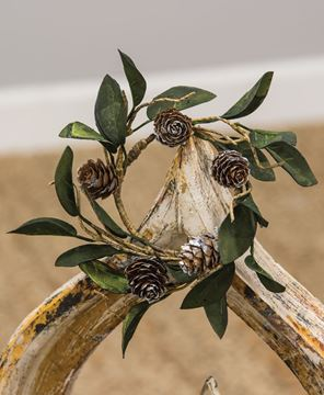 Picture of Silver Frosted Pine Cone and Leaf Candle Ring
