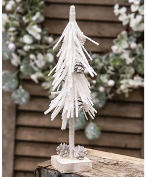 Picture of White Glittered Pinecone Tree 10""