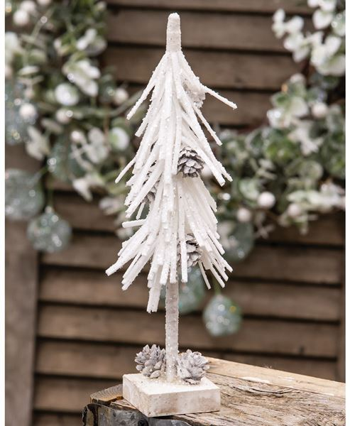 """Picture of White Glittered Pinecone Tree 10"""""""