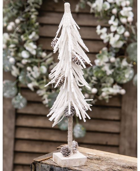 """Picture of White Glittered Pinecone Tree 12"""""""