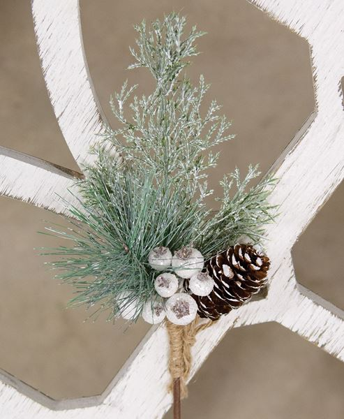 Picture of White Glittered Berry and Pinecone Pine Spray
