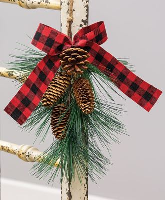 Picture of Hanging Pine Spray w/ Buffalo Check Bow