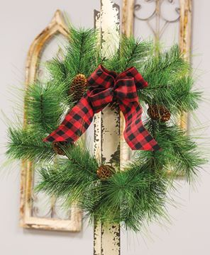 Picture of Pine Wreath w/ Buffalo Check Bow
