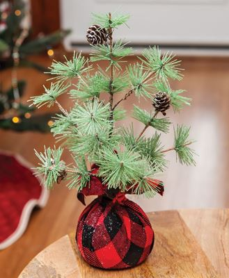 """Picture of Buffalo Check Sparkle Pine Tree 12"""""""