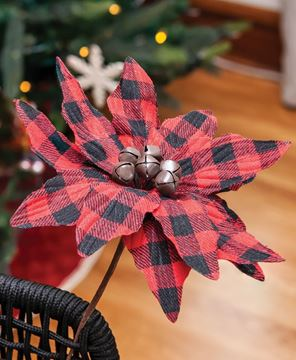 Picture of Buffalo Check Jingle Bell Poinsettia Stem 9.5""