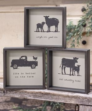 Picture of Simple Life Animal Farm Shadowbox Sign, 3 Asstd.