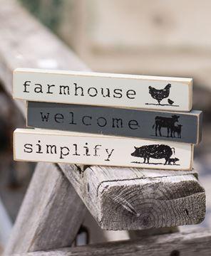 Picture of Farmhouse Animals Mini Sticks, 3 Asstd.