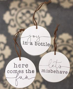 Picture of Here Comes the Fun Wine Tags, Set/3