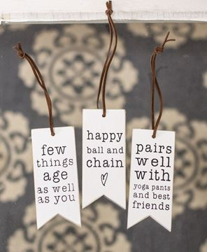 Picture of Yoga Pants and Best Friends Wine Tag, 3/Set