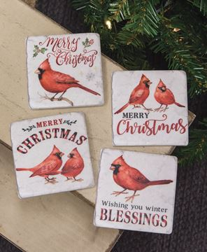 Picture of Christmas Cardinals Resin Coasters, 4/Set
