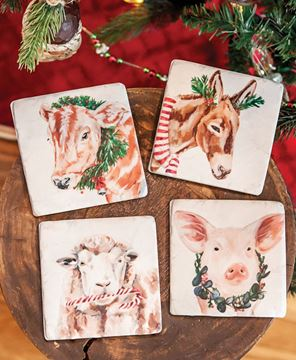 Picture of Christmas Farm Animals Resin Coasters, 4/Set