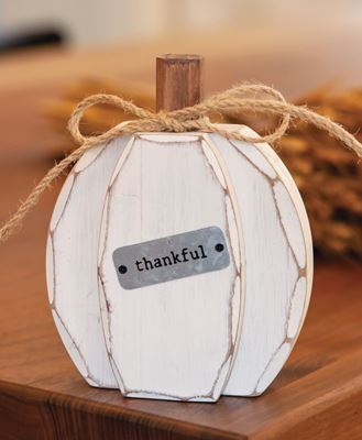 Picture of White Chunky Thankful Pumpkin Sitter
