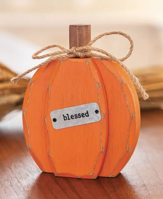Picture of Orange Chunky Blessed Pumpkin Sitter