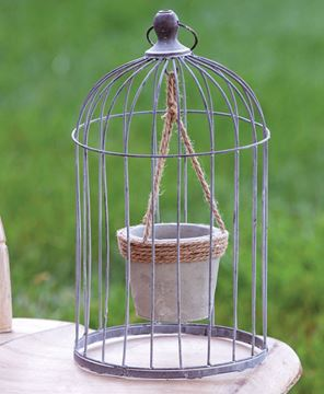 Picture of Wire Bird Cage with Jute and Cement Plant Holder, Large