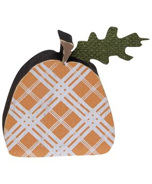 Picture of Orange Plaid Freestanding Pumpkins, 2/set