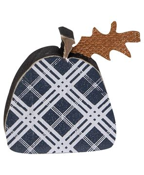 Picture of Black Plaid Freestanding Pumpkins, 2/set