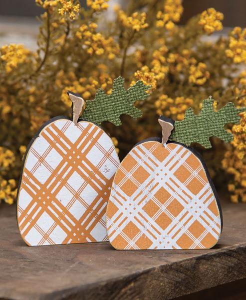 Picture of Orange Plaid Freestanding Pumpkins, 2/Set