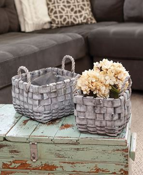 Picture of Square Graywashed Planter Baskets, 2/Set