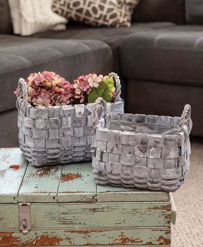 Picture of Rectangle Graywashed Planter Baskets, 2/Set,
