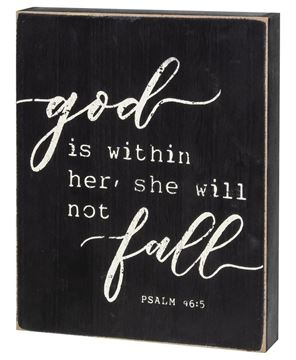 Picture of She Will Not Fall Box Sign