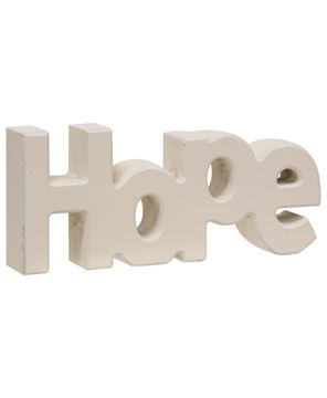 "Picture of Wooden ""Hope"" Block, Cream"