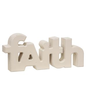 "Picture of Wooden ""Faith"" Block, Cream"